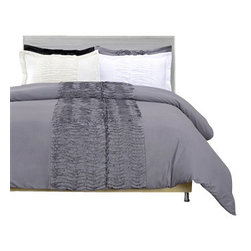Bedding Web Store - Neola 3-Piece Duvet Cover Set-Microfiber, Grey, Full/Queen - The Neola 3-Piece Duvet Cover Set will make a beautiful addition to your bedroom.  This duvet is made of 100% Microfiber with a brilliant color and ruffled design in the center.  This set is available in four colors: Black, Grey, Ivory and White.  The sizes available are Full/Queen & King/California King