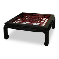China Furniture and Arts - Rosewood Square Coffee Table w/Longevity Emblem - The intricate pattern of Chinese window panel has long been an artistic form in Chinese decorative art. Completely hand made of solid rosewood, an open carving of longevity symbol panel is carefully inserted into this coffee table. Its elegant cherry rosewood finish with black ebony frame round out its quiet beauty. The table is large enough for you to make your own decorative arrangements with a vase, your favorite magazine, and coffee cups. Topped with beveled glass top for your convenience. A living room and family room essential.