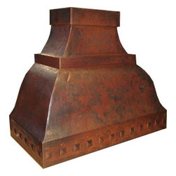 "myCustomMade - Custom Copper Range Hood ""Arizona"", Coffee, 30"", Wall Mount - Rustic design makes this custom copper range hood a great addition to the kitchen. Customize the traditional copper hood by choosing natural fired, coffee, honey or antique finishing. ""Georgia"" style is produced as 30, 36 or 48 inches wide. Its depth is 22"", height 36"" and it takes about thirty days to deliver. Once purchased specify the hood 220000011 version as wall mount or kitchen island. Enjoy free delivery."