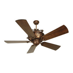 "Craftmade - Craftmade K10765 Peruvian Toscana Toscana Indoor Ceiling Fan with Five - Craftmade K10765 Toscana Indoor Ceiling Fan Unipack - 5 Blades IncludedThe Toscana fan features bold scrollback enhanced by back-lit Antique Scavo body glass.Craftmade K10765 Fan Features:Fan Model #: TO52PRMotor: Heavy-Duty, 3 Speed Reversible MotorDownrods: 6"" And 12"" Downrods (Included)Warranty: Limited Lifetime WarrantyRemotes: TCS Remote Control (Optional) and TCS-PLUS Wall Control (Optional)Energy Star: NoMotor Size (MM): 188x15Amps (High Speed): 0.66Watts (High Speed): 71Rpm (Hi-Med-Low): 195-128-75Weight: 28.16Airflow (Cubic Ft/Min): 5731Electricity Use: 71 WattsAirflow Efficiency (Cubic Ft/Min/Watt): 79Item Length (in): 21.85Item Width (in): 14.49Item Height Or Extension (in): 11.02Item Weight (lbs): 24.86Craftmade K10765 Blades:Blade Model #: B554P-WALBlade Type: Type 1Extra Shipping Box: Separate BoxBlade Finish: WAL - Hand-Scraped WalnutNumber Of Blades: 5Blade Length: 54""Blade Pitch: 14-Item Length (in): 23.23Item Width (in): 8.66Item Height or Extension (in): 1.93"