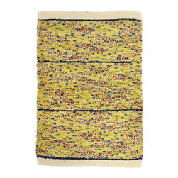 "re:loom - re:loom Handwoven Small Rug, Radiant Rain - 24"" x 34"" blue, yellow and red area rug. Ends are finished with a tailored plain-woven hem, and rugs are reversible adding to their versatility. Each one-of-a-kind piece is individually hand-woven in the U.S.A."