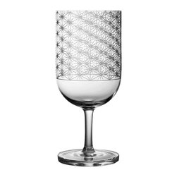 Bomma - 15.5 oz Stellis Collection Crystal Water Glass - Set of 2 - Set of 2 - The Stellis 15.5 oz. water glass provides an ample serving while showing off fine design at your special table. Designer Rony Plesl has created a collection of glassware inspired by class Bohemia patterns updated with etching that relies on the latest in glassware manufacturing technology. The geometric patterns of the Stellis collection beckon you to hold the glassware in your hand before enjoying your favorite beverage.
