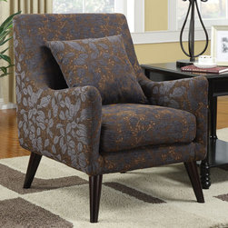 Coaster - 902086 Accent Chair - Elegant and classy. This accent chair in a luxurious leaf pattern material has sleek legs and unique curved arms. Accent pillow included.