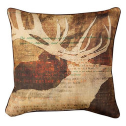 Manual - Pair of Stag Story Deer Silhouette Print Throw Pillows - This pair of 18 inch by 18 inch cotton / polyester blend throw pillows adds a wonderful accent to your home decor. The pillows feature the same print on both front and back, a negative silhouette of a 10 point stag against a brown background. They have 100% polyester stuffing. These pillows are crafted with pride in the Blue Ridge Mountains of North Carolina, and add a quality accent to your home. Original artwork by Ken Roko. They make great gifts for nature lovers.