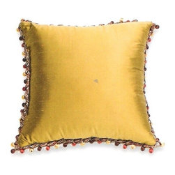 """CCCC-P-890 - Silk Suede Bronze with Henna 18"""" x 18"""" Throw Pillow with Berry Tassel Trim - Silk suede bronze / henna 18"""" x 18"""" throw pillow with berry tassel trim. Measures 18"""" x 18"""" made with a blown in foam and also available with feather down inserts at additional costs, search for down insert upgrade to add the up charge to your order. These are custom made in the U.S.A and take 4- 6 weeks lead time for production."""