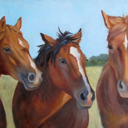 """Oil Paintings by Cheri - Gossip Party - Horses - Original Oil Painting - These three horses seem to be talking to one another about something or someone....probably their viewer (lol)....almost as if they were gossiping. Their rusty, burnt sienna coats in the sunlight magnify the beauty of their color, eyes and manes. The blue sky and green tree line behind them accentuate their presence. Great fireplace mantel gift for a """"special someone"""" and adds to any room home décor. Makes a great addition for the autumn season!"""