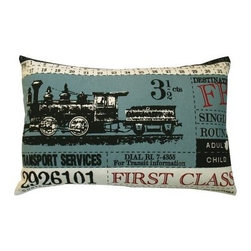 Koko Company Ticket Blue Decorative Pillow - You'll definitely be on board when the Koko Company Ticket Blue Decorative Pillow rolls into town. It's modeled after an antique train ticket and features a big burly steamer chugging down the tracks. The blue background provides a cool contrast to the black white and red accents. It's made of cotton and it's even machine washable with gentle cycle and low water temperature advised.About The Koko CompanyFor over 10 years The Koko Company has been pouring heart and soul into bringing you a vibrant diverse collection of pieces to suit your unique style. From pillows and bedding to rugs and throws every piece is both versatile and distinctive each playing its own part in a grander global vision. Located in Long Island City NY but influenced and inspired by an array of cultures and fashions The Koko Company strives to bring the subtle elegance of natural fibers and organic design to your home accents.
