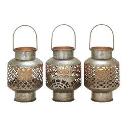 Unique Styled Metal Glass Lantern, Set of 3 - Description: