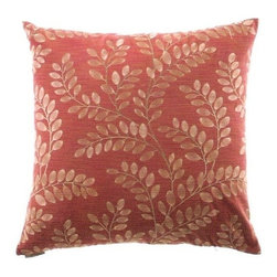 """Canaan - 24"""" x 24"""" Sangla Paprika Leaf Print Throw Pillow - Sangla paprika leaf print throw pillow with a feather/down insert and zippered removable cover. These pillows feature a zippered removable 24"""" x 24"""" cover with a feather/down insert. Measures 24"""" x 24"""". These are custom made in the U.S.A and take 4-6 weeks lead time for production."""