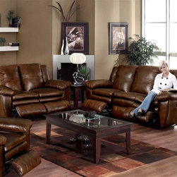 Catnapper - Sonoma 497 Three Pc Reclining Living Room Set - Includes sofa, chair and loveseat. Coffee table and end table not included. Drop down table with cup holders. Fresh, casual contemporary styling with boxed pillow top. Durable steel seat box. Unitized steel base. The strongest, most durable base in the recliner industry. Resists bending or wear. Reclining Mechanism:. Installed with noiseless sure-lock spring clips. Strongest recliner seat box available. No warping or splitting in this critical area (standard on most models). Direct drive cross bar ensures that both sides of the mechanism operate together, in sequence, for longer life. Heavy 8-gauge sinuous steel springs in the seat provide strength, comfort and flexibility. Made of top grain leather and vinyl. No assembly required. Limited lifetime warranty. Sofa: 89 in. L x 39 in. W x 42 in. H (225 lbs.). Chair: 44 in. L x 40 in. W x 42 in. H (107 lbs.). Loveseat: 62 in. L x 39 in. W x 42 in. H (195 lbs.)