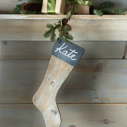 """Park Hill Collections - Chalkboard Wood Christmas Stocking - BROWN - Park Hill CollectionsChalkboard Wood Christmas StockingDetailsWood stocking with chalkboard cuff.5""""W x 15""""L.Imported."""
