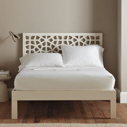 Morocco Headboard - White - A tall order. Slim-lined, long-legged design crafted of strong hardwood.