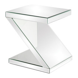 Howard Elliott - Z-Shaped Mirrored End Table - This Z-Shaped Mirrored End Table offers both function and style. Mirrored. 18 in. x 16 in. x 21 in.