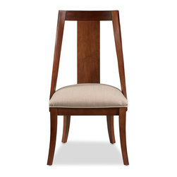 Somerton Dwelling - Somerton Dwelling Manhattan Slipper Chairs (Set of 2) - These charming chairs have an oatmeal upholstery and a brown walnut finish. Made of hardwood and veneer,these furniture pieces are built for everyday use.