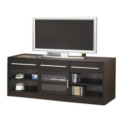 "Coaster - Connect It TV Console (Cappuccino) By Coaster - One connect-it power drawer. Two additional storage drawers. One glass door. Two shelves behind door. Four lower open side shelves. Contemporary hardware. Easy access wire management. Cappuccino finish. 60 "" W x 17.75 "" D x 23.63 "" H.  Enjoy modern style and functionality for your living room and essential electronics with this TV console."