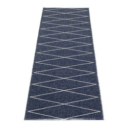 Pappelina - Pappelina MAX Plastic Runner, Dark Blue, - This  rug from Pappelina, Sweden, uses PVC-plastic and polyester-warp to give it ultimate durability and clean-ability. Great for decks, bathrooms, kitchens and kid's rooms. Turn the rug over and the colors will be reversed!