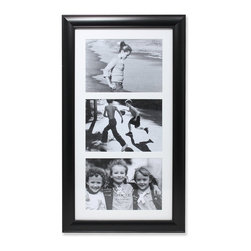 "Lawrence Frames - Black Collage Frame - Three Opening 5x7 Gallery Frame - High quality three openning collage frame.  Beautifully finished domed black compostie gallery picture frame holds three 5"" x 7"" photos.  This is a gorgeous and elegant matted picture frame that will be a great decorative addition to any room.  Wall hanging only, comes with hangers for vertical or horizontal wall mounting.  High quality black velvet backing.  Picture frame comes with glass to protect your photos, and is individually boxed."