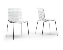 "Baxton Studio - Baxton Studio Marisse Clear Plastic Modern Dining Chair (Set of 2) - Calm waters. The tranquility of a secluded lake. The Marisse Chair embodies the best of an aquatic haven. This designer dining chair features Chinese-built construction of transparent clear polycarbonate plastic atop chrome-plated steel legs with non-marking feet. The seat features a ripple-effect bottom surface so the seat itself stays smooth for comfortable lounging. The Marisse Chair does not stack, requires assembly, and should be wiped clean with a damp cloth. A transparent blue option is also available (sold separately). 18.87""W x 20.5""D x 31.5""H, seat'sion: 17.56""W x 16.25""D x 17.87""H"