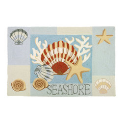 Homefires - Key West Clam Shell Rug - She no longer needs to sell sea shells by the sea shore, she can have them in her (or your) home instead. This machine washable area rug features a calming nautical theme without leaving a trace of sand for you to clean up.