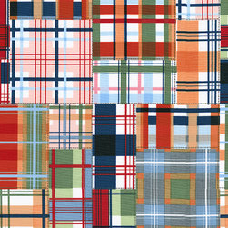 Patchwork Plaid Fabric - This Patchwork Plaid features shades of navy, orange and greens on a white background. Reminiscent of your favorite quilt, it's the perfect companion fabric with our Coastal Bottle caps.