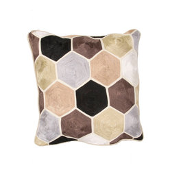 """Jaipur Rugs - Taupe/Ivory color cotton encasa05 poly fill pillow 18""""X18"""" - En Casa is the design collection of Cuban born, Queens, NY raised painter and surface designer, Luli Sanchez. This collection is based off of her painterly works of art that capture an organic and moody yet optimistic spirit. Her geometric paintings were truly inspiring for this pillow collection."""