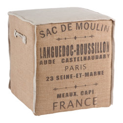 """Aidan Gray - Aidan Gray Furniture Sac De Moulin Cube - The perfect size for extra seating, this burlap with linen accent cube is the ideal seat height, allowing it to be tucked under a table and pulled out when extra seating is needed. Dimensions 20""""T x 18""""W x 18""""D"""