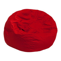 Flash Furniture - Small Solid Red Kids Bean Bag Chair - The comfy bean bag chair is a great way for kids to sink into comfort. The lightweight bean bag allows children to tote it all over the house. The slipcover can be removed for cleaning or spot cleaned upon accidents. Beads are securely contained with a metal safety zipper.