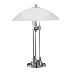 Lite Source - Lite Source LS-3619PS/FRO Orbiter 2 Light Table Lamps in Polished Steel - Table Lamp W. Glass Shade, Ps/Frost Glass, E27 Cfl 13Wx2