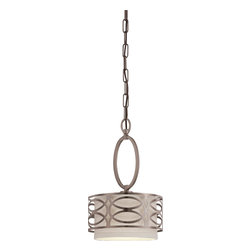 Nuvo Lighting - Nuvo Lighting 60/4728 Harlow Single Light Mini Pendant With Khaki Fabric Shade I - Harlow - 1 Light Mini Pendant w/ Khaki Fabric Shade