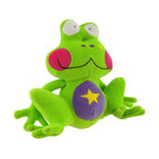 Happy House Cute Froggy Plush Baby Toy - This brightly colored frog will brighten your child`s day! It is 100% polyester, including the stuffing inside, and measures 7 inches tall, 8 inches wide. This plush toy is recommended for all ages, and is machine washable in cold water.