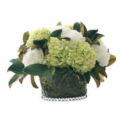 Winward Designs - Hydrangea Planter Flower Arrangement - You don't have to have a green thumb to enjoy the classic combination of hydrangeas and velvety magnolia leaves. A permanent display of these elegant blooms will bring timeless grace to your home for years to come. And you won't ever have to worry about watering!