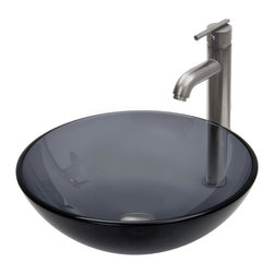 Vigo Industries - Round Vessel Sink with Faucet Set - Includes pop up drain and mounting ring and hot and cold waterlines