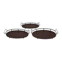 Benzara - Set of 3 Elegant Metal Trays - Set of 3 elegant metal trays. This Set of 3 metal oval shaped trays will liven up any party. Some assembly may be required.
