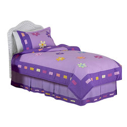 Sweet Jojo Designs - Daisies Bedding Set - The Daisies Bedding set will help you create an incredible room for your child. This modern hand decorated girl bedding set is constructed in large contemporary color blocks and adorned with multicolor 3 Dimensional daisy flowers. This collection uses the stylish colors of Purple, Lavender, Yellow, Pink, Turquoise, Green, and Orange.