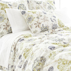 Pine Cone Hill - india gate duvet cover (ink) - Escape to a serene cottage getaway and slip beneath the perfectly patterned covers of our strawberry hill collection featuring delicate pastels, soft linens and casually embellished pillows blending unique patterns and textures with soothing colors in subtle, comforting harmony.  Florals and paisley, pale solids and subtle dots soften the plush appearance of our duvet covers, quilts and shams to create a well-tailored bedroom.