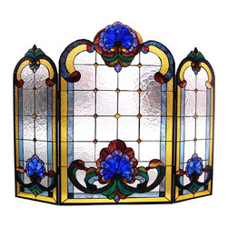 Chloe Lighting - Victorian Fireplace Screen - Note: Shade colors will appear darker and less vibrant when not illuminated.. The handcrafted nature of this product creates variations in color, size and design. If buying two of the same item, slight differences should be expected.. This stained glass product has been protected with mineral oil as part of the finishing process. Please use a soft dry cloth to remove any excess oil. . Due to the nature of stained-glass, colors may vary. This elegant, Tiffany-style fireplace screen is a classic Victorian design. A welcome addition to any home decor, the screen is created from pieces of stained art glass and features cheerful shades of blue, green, gold, burgundy and clear water glass. 40 inches wide x 31 inches tall.. Product is hand made, so the color may vary slightly from image. This product contains lead, a chemical known to the state of California to cause cancer, birth defects, and other reproductive harm if ingested