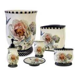 "Saturday Knight Ltd. - Marche Aux Fleur Ceramic Waste Basket - Add charm to your bathroom with this bath ensemble's elegant mix of soft flowers and butterflies contrasted with polka dot and striped trim. Waste basket measures 7 1/2"" x 7 1/2"" x 9 3/4""."