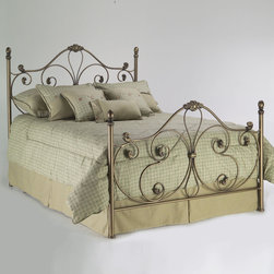 """Fashion Bed Group - Aynsley With Frame in Majestique Finish - Cal King - The whimsical scrollwork of the Aynsley bed gives it a light and airy look. The lyrical sweep of the 59 3/8"""" headboard and matching 43 3/8"""" footboard are the perfect backdrop for your puffiest pillows and softest comforter; a nurturing sanctuary in which you'll want to spend plenty of time. This lovely bed is available in two finishes: Alabaster, a one-step French Ivory powder coat and Majestique, a bronze-silver with dark gray highlight coloring finished with lacquer. Either finish is specially designed to suit that perfect romantic haven in your home."""