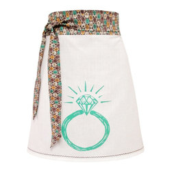artgoodies - Organir Block Print Ring Apron - Each organic apron is hand printed with an original hand carved block print by Lisa Price. The band and ties are made of a coordinating vintage-style fabric and the embroidered accent at the bottom sets the fabric off just right! Dazzle your kitchen on any ordinary day or be the cutest hostess ever!