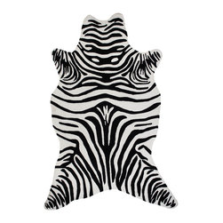 Zebra Rug - Black - Embrace depth and color with our graphically bold animal-friendly Zebra area rug.  Hand sculpted and durable, our Zebra rug can easily transition from indoor to outdoor usage.  Hand hooked from all-weather polypropylene our Zebra rug brings dimension and detail to any landscape. Easily cleaned and available in two sizes and four colors:  Apple Green, Black, Grey or Chocolate Brown. Available online only.