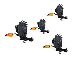 My Wonderful Walls - Toucan Wall Stickers - Decals - Set of 4, Left-Facing - - 4 flying toucan wall stickers