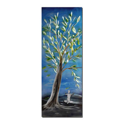 Pure Art - Meditative Tree Modern Wall Art - The artist has created a mystical aura with this restorative and serene metal wall art. It shows a large tree with leaves fully unfurled in the foreground against an early twilight sky. Below, the figure of a man or woman is seated in a yoga pose as if gathering peace, acceptance and energy from the tree and nature.Made with top grade aluminum material and handcrafted with the use of special colors, it is a very appealing piece that sticks out with its genuine glow. Easy to hang and clean.