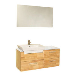 Fresca Caro Solid Wood Modern Bathroom Vanity w/ Mirrored Side Cabinet