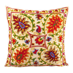Handmade Suzani Pillow Cover -  usp107 - Suzani pillow cover from Uzbekistan. Hand embroidered with naturally dyed. Anatolian and central Asian patterns. Great for Boho-Chic, Bohemian decorating style, and can also be mixed with contemporary, modern or traditional decor. Check out our Facebook and Pinterest pages for examples of suzanis placed in rooms featured in Elle Decor, Vogue, and other magazines.
