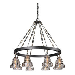 Troy Lighting - Old Silver Menlo Park 8 Light Chandelier with Glass Insulator Shades - A great combination of industrial design elements, the Menlo Park 8 Light Pendant is a marvel that brings light and life to any space. Crafted from hand-worked wrought iron and finished in old silver, this pendant is framed with a variety of timeless forms that draw to its agrarian and foundry charms. Highlighted with eight custom candelabra diffusers in a classic, speakeasy-style shape, this fixture is a sure staple for any decor. Perfect for giving a fresh feel to any loft, kitchen, or bar space.