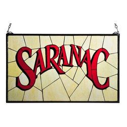 """Meyda Tiffany - Meyda Tiffany 113371 28"""" W X 17"""" H Saranac Stained Glass Window - Capture beautiful class with the 28"""" Width X 17"""" Height Saranac Stained Glass Window by Meyda Tiffany. The craftsmen at Meyda Tiffany worked hard to come up with this dazzling tiffany window. Features:"""
