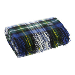 """Stewart Plaid Wool Throw - Blue - Faribault Woolen Mill was the first company to introduce a stadium blanket with the introduction of the """"Pak-A-Robe"""" in 1949. These rugged throws are designed to be used outdoors and are naturally soil repellent. Dirt and debris can simply be brushed away returning the throw to like-new condition. Faribault pioneered the use of machines to create the distinctive rolled fringe used on this blanket. We use the same machine today to create the fringe on these throws. Permanently moth-proofed, 100% pure wool."""