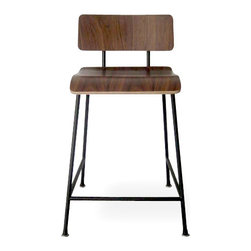Gus - School Stool - A counter-height version of our popular School Chair, the School Stool features a bent-plywood seat and back which are fastened to the frame with rubber shock mounts, which provide durability and add an industrial aesthetic.