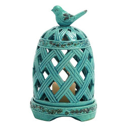 "Benzara - Graceful Zhangye Ceramic Birdcage Candle Holder - Wish to add that cagy feeling to your house ambiance? Well, now you can get this ceramic crafted candle holder that has a turquoise finish, with distressed accents. The pretty bird holder at the top is something very eye catchy about this item. Place a beige or white colored candle inside to spread warmth in your house. The light coming from the cutout will simply add a new charm to your living space and make it glow all day.Hold it in your living room, bedroom or bathroom to give a jive to your mood. Spend your night in a soothing way listening to your favorite tunes in this lantern night and you are sure to have the best nights of your life. If you are tired of the dull lighting in your house, get this candle holder and lighten it. Also, present it as a gift to your loved ones who love owning such beautiful creations. This candle holder measures 8 inches (Width) x 8 inches (L) x 13 inches (Height) ; Distressed turquoise finish; Pretty bird holder; Dimensions: 5""L x 3""W x 20""H"