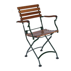 European Cafe Folding Armchair - Set of 2 - Bistro Chairs - These stunning bistro chairs are sturdier than their armless cousins, and the teak and metal combination is a French rustic stunner.
